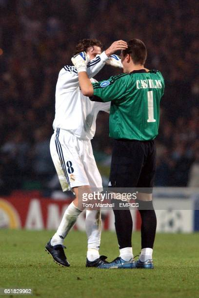 Real Madrid's Steve McManaman and Iker Casillas celebrate victory