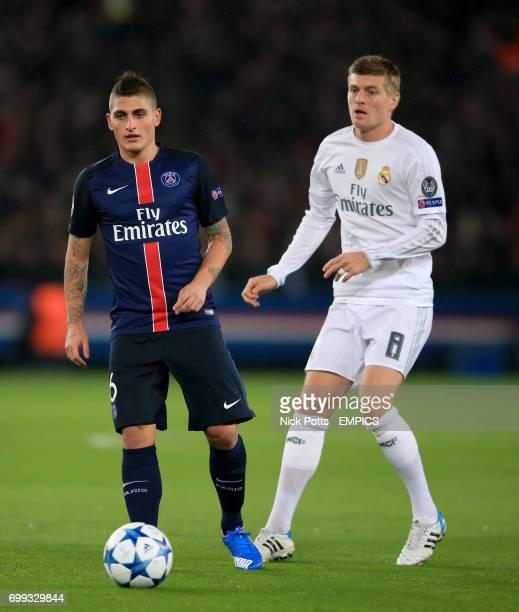 Real Madrid's Toni Kroos and Paris SaintGermain's Marco Verratti