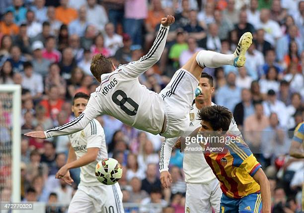 Real Madrid's Toni Kroos in action during the Spanish league football match Real Madrid CF vs Valencia CF at the Santiago Bernabeu stadium in Madrid...