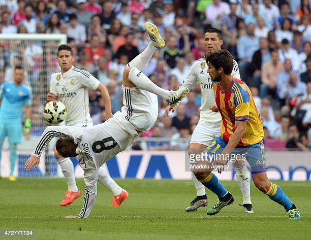 Real Madrid's Toni Kroos in action during the Spanish league football match between Real Madrid CF vs Valencia CF at the Santiago Bernabeu stadium in...