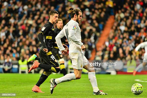 Real Madrid's Welsh Bale in action during Spanish Liga football match Real Madrid vs Sevilla at Santiago Bernabeu stadium in Madrid on March 20 2016