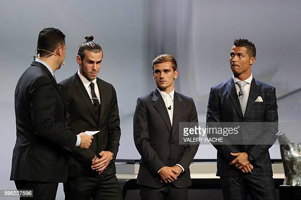 Real Madrid's Welsh forward Gareth Bale Atletico Madrid's French forward Antoine Griezmann and Real Madrid's Portuguese forward Cristiano Ronaldo...