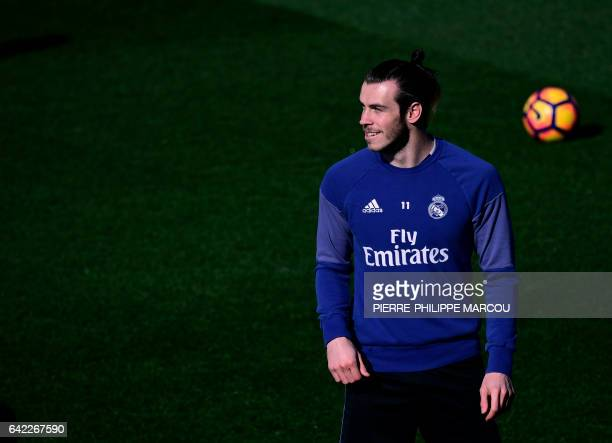 Real Madrid's Welsh forward Gareth Bale attends a training session at Valdebebas Sport City in Madrid on February 17 2017 on the eve of their Liga's...