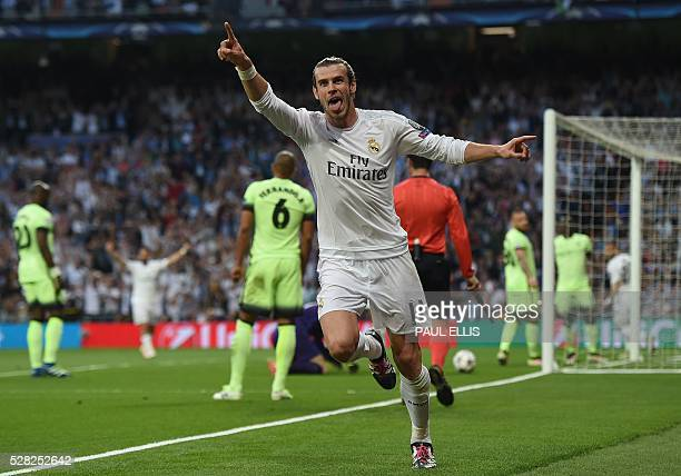 Real Madrid's Welsh forward Gareth Bale celebrates a goal during the UEFA Champions League semifinal second leg football match Real Madrid CF vs...