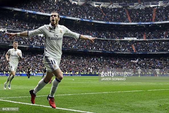 Real Madrid's Welsh forward Gareth Bale celebrates a goal during the Spanish league football match Real Madrid CF vs RCD Espanyol at the Santiago...