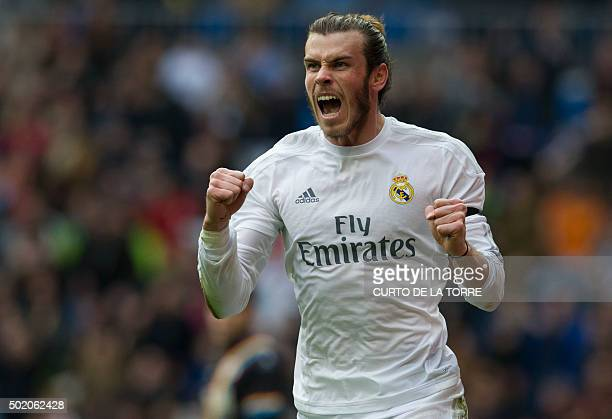 Real Madrid's Welsh forward Gareth Bale celebrates after scoring during the Spanish league football match Real Madrid CF vs Rayo Vallecano de Madrid...