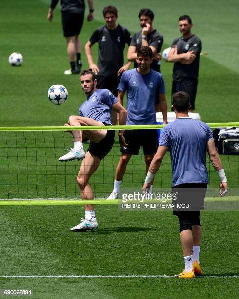 Real Madrid's Welsh forward Gareth Bale controls the ball during a training session at Valdebebas Sport City in Madrid on May 30 2017 at the Media...