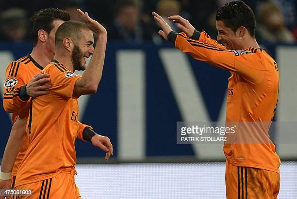 Real Madrid's Welsh striker Gareth Bale Real Madrid's French forward Karim Benzema and Real Madrid's Portuguese forward Cristiano Ronaldo celebrate...