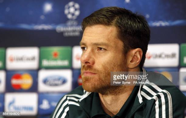 Real Madrid's Xabi Alonso during a press conference at Old Trafford Manchester