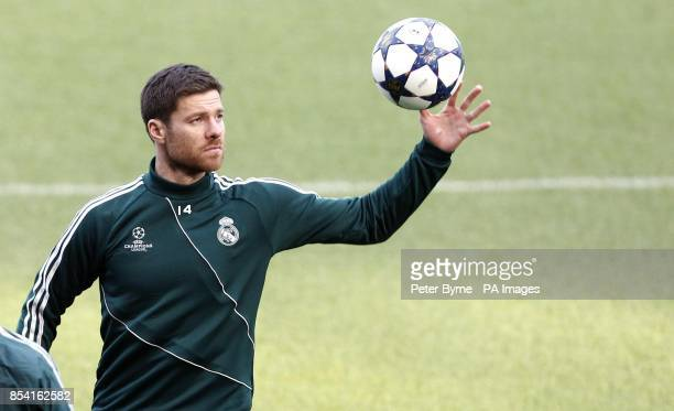 Real Madrid's Xabi Alonso during a training session at the Etihad Stadium Manchester