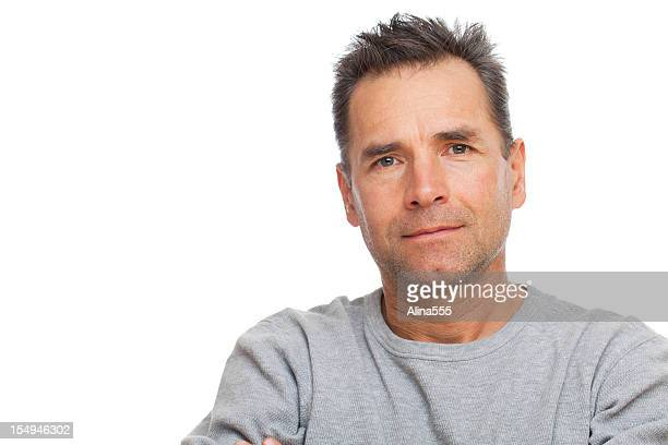Real people: casual portrait of a caucasian man on white