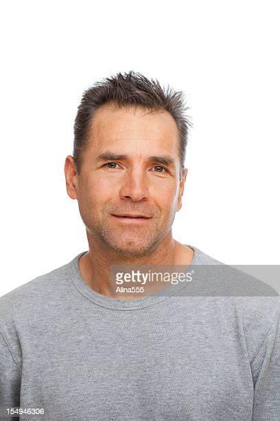 Real Personen: Lässig Porträt ein europäischer Abstammung Mann auf Weiß