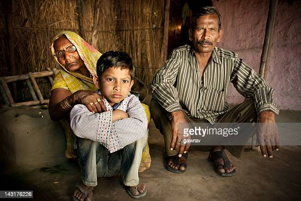 Real people from rural India: Father, son and grandmother