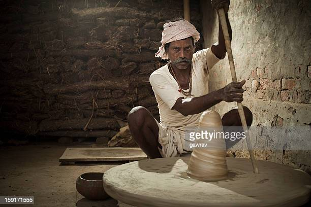 Real people from rural India: Potter at work