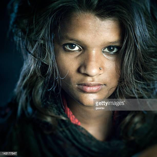 Real people from rural India: Teenage girl looking at camera