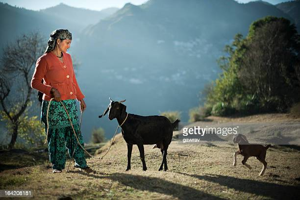 Real people from rural India: Woman with goats in mountain