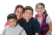 Real People:  Head Shoulders Hispanic Family Mother Sons Daughter