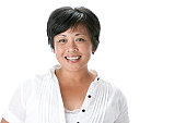 Real People: Head Shoulders Smiling Asian Adult Woman
