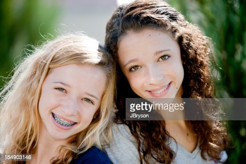 Real People: Head Shoulders Smiling Caucasian Teenage Girls Sisters Twins