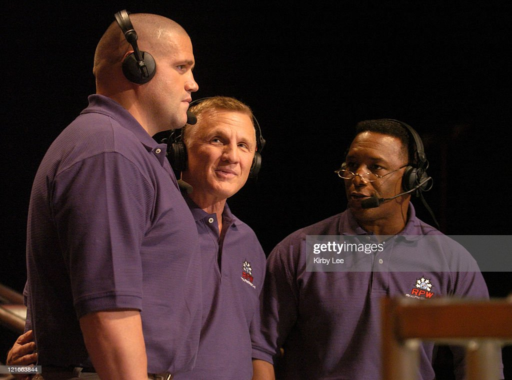 Real Pro Wrestling commentators Rulon Gardner Tim Johnson and Nate Carr during first seaosn taping at the Los Angeles Center Studios on Friday Oct 8...