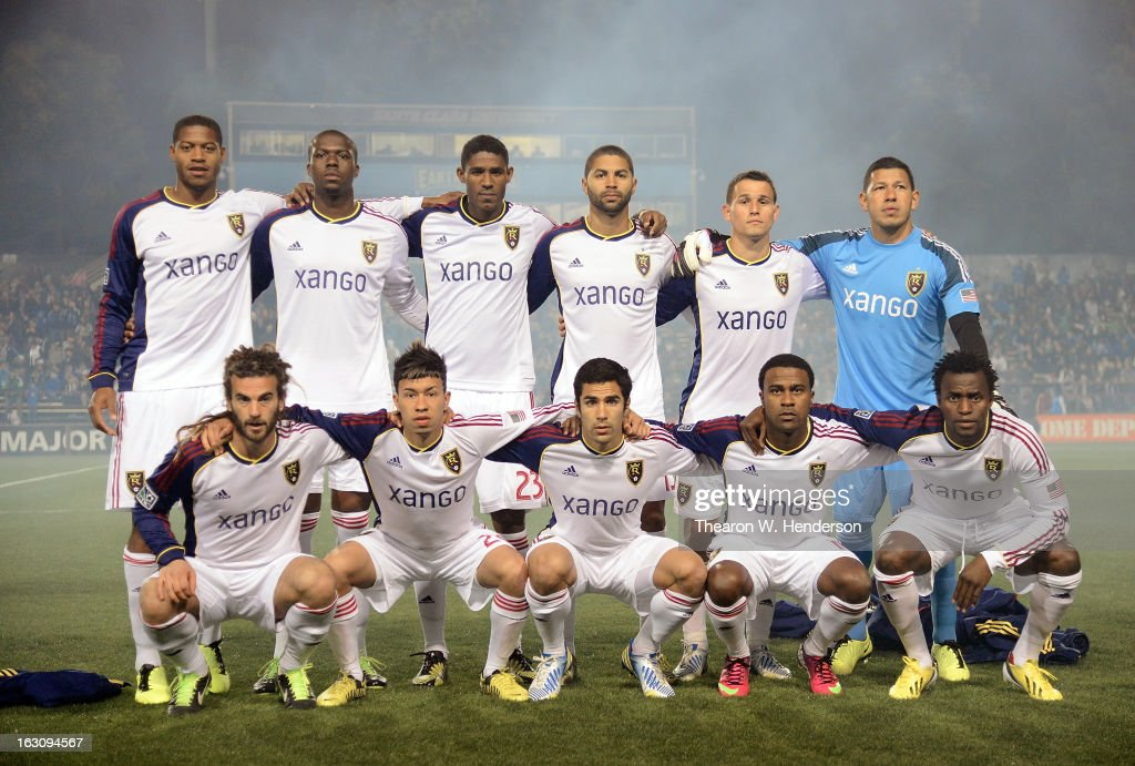 Real Salt Lake starting line-up poses for a team photo before the start of their game against the San Jose Earthquakes at Buck Shaw Stadium on March 3, 2013 in Santa Clara, California.