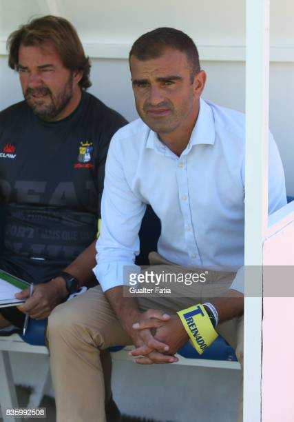 Real SC head coach Filipe Martins from Portugal before the start of the Segunda Liga match between Real SC and Sporting CP B at Complexo Desportivo...
