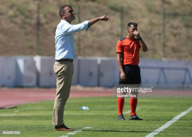 Real SC head coach Filipe Martins from Portugal in action during the Segunda Liga match between Real SC and Sporting CP B at Complexo Desportivo do...