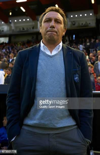 Real Sociedad manager Eusebio Sacristan looks on prior the La Liga match between Valencia CF and Real Sociedad de Futbol at Mestalla Stadium on April...