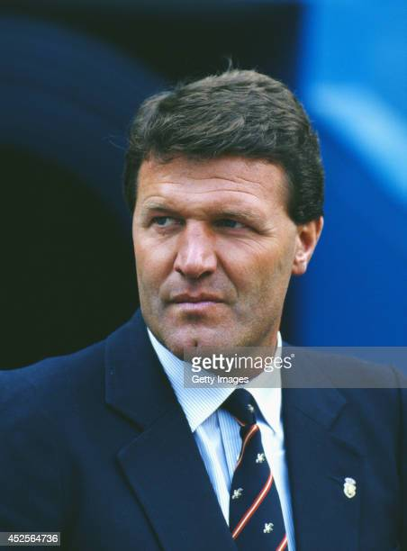 Real Sociedad manager John Toshack looks on before a European Cup tie between Ajax and Real Sociedad circa 1986