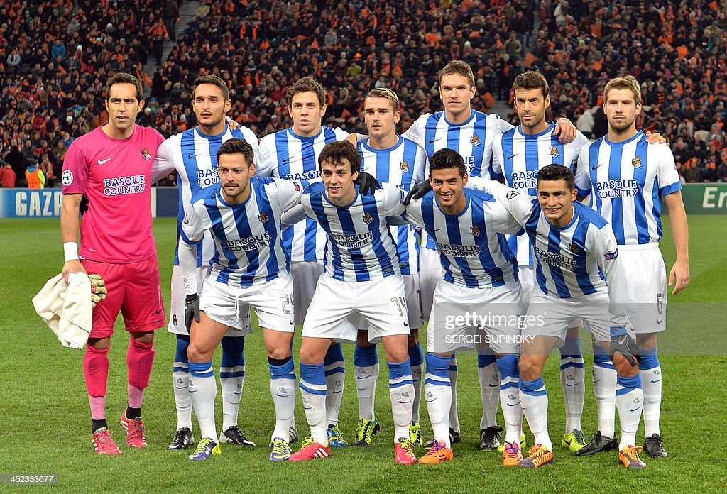 Real Sociedad players pose prior to their UEFA Champions League Group A football match against FC Shakhtar in Donetsk on November 27, 2013.