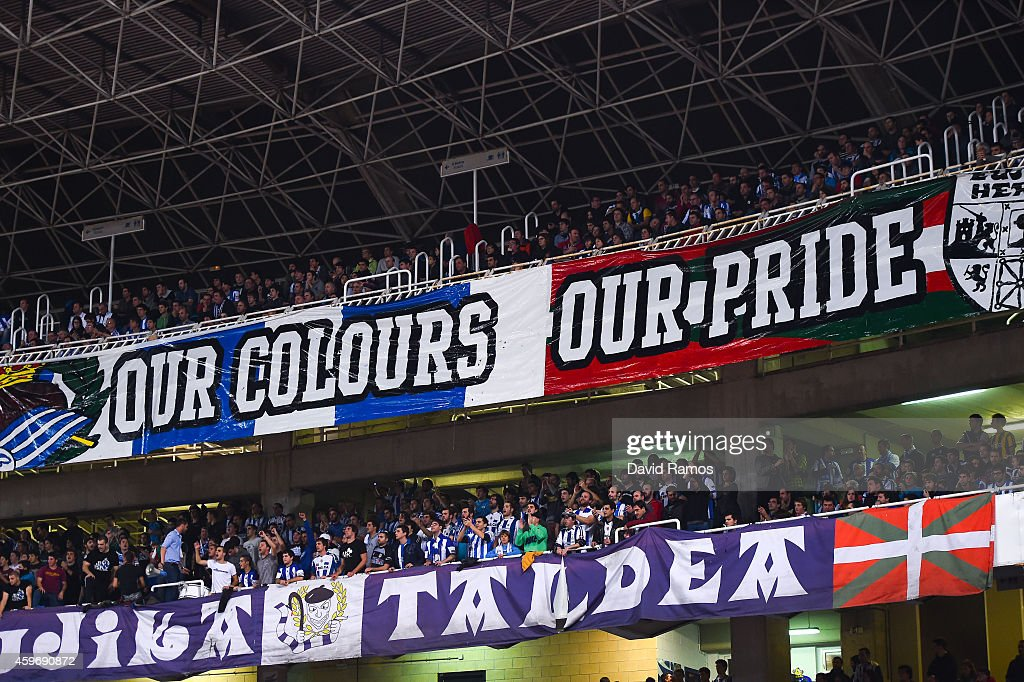 Real Sociedad supporters cheer on their team during the La Liga match between Real Socided and Elche FC at Estadio Anoeta on November 28, 2014 in San Sebastian, Spain.
