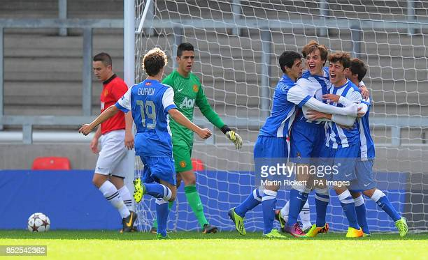 Real Sociedad U19 Alvaro Odriozola celebrates scoring his teams 1st goal against Manchester United's U19's during the UEFA Youth League Group A match...