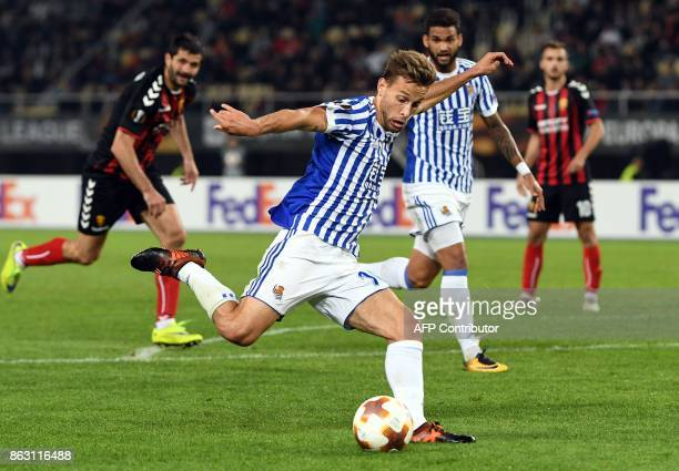 Real Sociedad's Diego Liorente kicks the ball during the UEFA Europa League Group L football match between FK Vardar and Real Sociedad at the Filip...