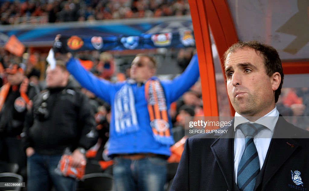 Real Sociedad's football coach Jagoba Arrasate looks on during their UEFA Champions League Group A football match with FC Shakhtar in Donetsk on November 27, 2013.