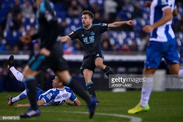 Real Sociedad's midfielder Asier Illarramendi reacts as he scores during the Spanish league football match RCD Espanyol vs Real Sociedad atthe RCDE...