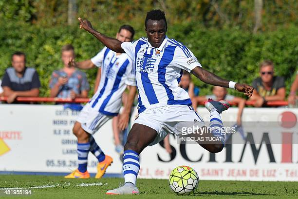 Real Sociedad's midfielder Bruma kicks the ball during the friendly football match between Toulouse and Real Sociedad in SaintJeandeLuz on July 25...