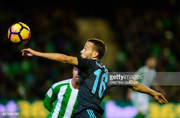 Real Sociedad's midfielder Sergio Canales eyes the ball during the Spanish league football match Real Betis vs Real Sociedad at the Benito Villamarin...