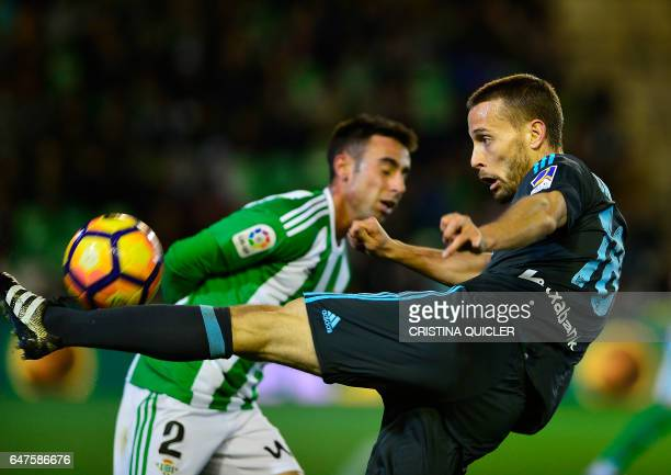 Real Sociedad's midfielder Sergio Canales kicks the ball during the Spanish league football match Real Betis vs Real Sociedad at the Benito...