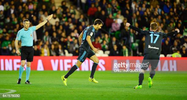 Real Sociedad's midfielder Xabier Prieto celebrates after scoring during the Spanish league football match Real Betis vs Real Sociedad at the Benito...