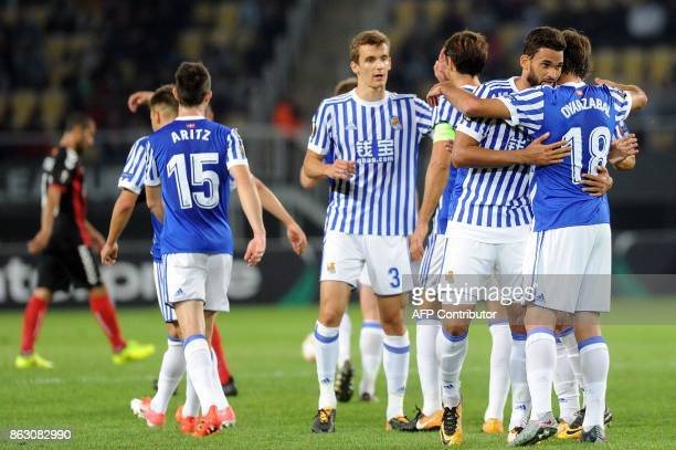 Real sociedad's players celebrate a goal during the UEFA Europa League Group L football match between FK Vardar and Real Sociedad at the Filip II...