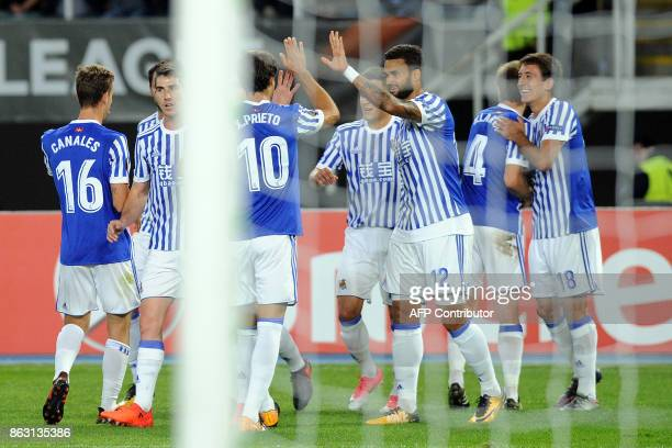 Real sociedad's players celebrate the goal during the UEFA Europa League Group L football match between FK Vardar and Real Sociedad at the Filip II...