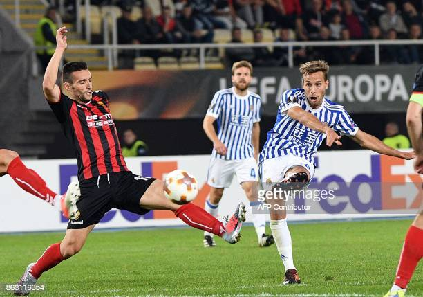 Real Sociedad's Sergio Canales kicks the ball during the UEFA Europa League Group L football match between FK Vardar and Real Sociedad at the Filip...