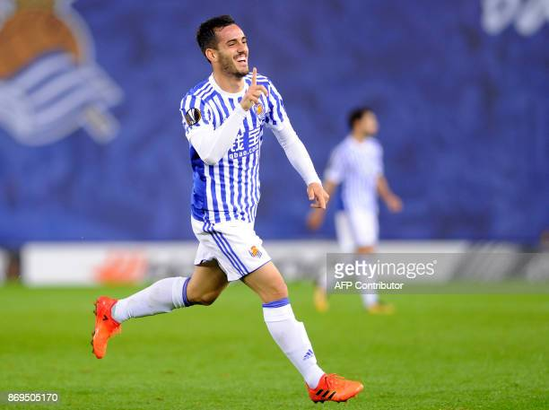 Real Sociedad's Spanish midfielder Juanmi celebrates after scoring a goal during the Europa League group L football match Real Sociedad vs FK Vardar...