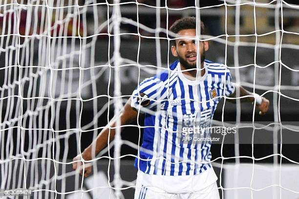 Real Sociedad's Willian Jose celebrates a goal during the UEFA Europa League Group L football match between FK Vardar and Real Sociedad at the Filip...