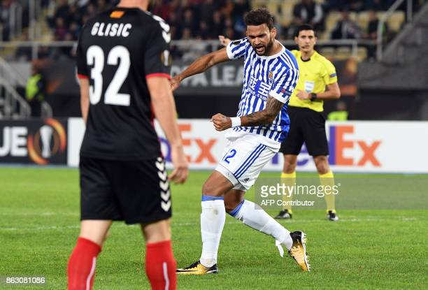 Real Sociedad's Willian Jose celebrates scoring during the UEFA Europa League Group L football match between FK Vardar and Real Sociedad at the Filip...