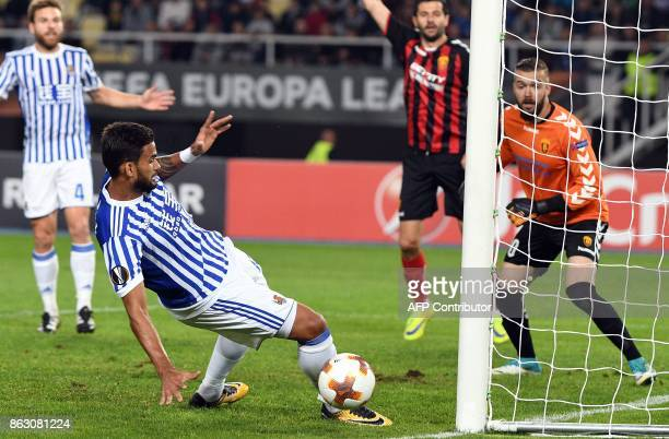 Real Sociedad's Willian Jose kicks the ball during the UEFA Europa League Group L football match between FK Vardar and Real Sociedad at the Filip II...