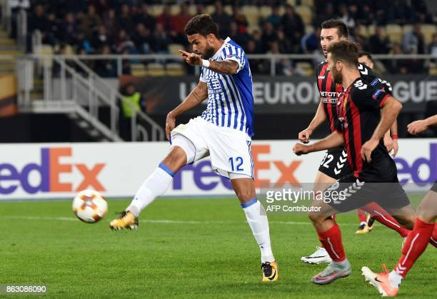 Real Sociedad's Willian Jose scores a goal during the UEFA Europa League Group L football match between FK Vardar and Real Sociedad at the Filip II...