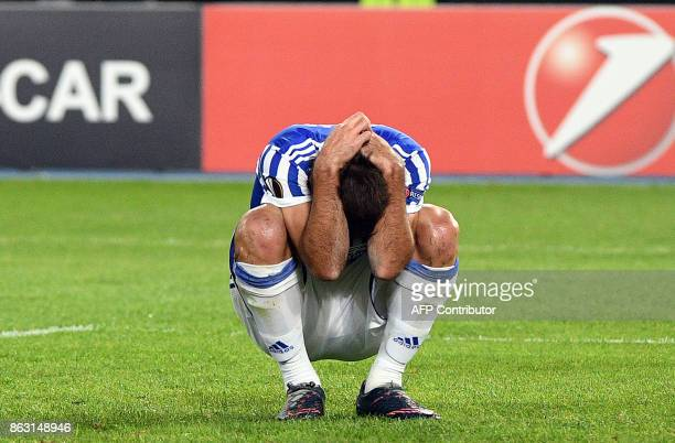 Real Sociedad's Xabi Prieto reacts during the UEFA Europa League Group L football match between FK Vardar and Real Sociedad at the Filip II Arena in...