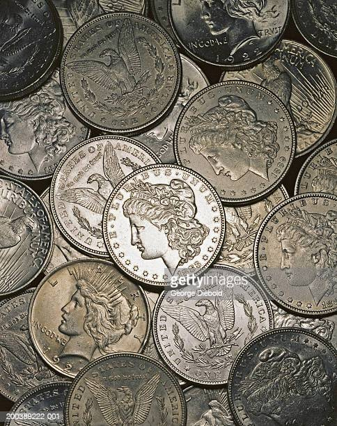 Real solid silver dollars, overhead view, full frame