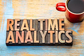 real time analytics word abstract in vintage letterpress wood type